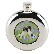 Round Hip Flask 4.5oz Springer Spaniel design with funnel in Presentation Box