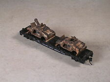 N Scale 50 foot Flat Cat with war damaged HUMMERS