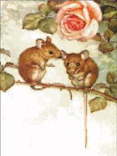 """Summer Love"" Mouse Couple Cross Stitch Pattern"