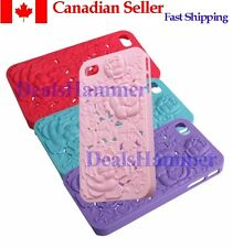 3D Sculpture Design Rose Flower Hard Plastic Cover Case For iPhone 4 4S RED