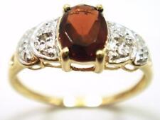 SYJEWELRYEMPIRE NICE 10KT YELLOW GOLD OVAL GARNET & DIAMOND RING SIZE 7 R1006