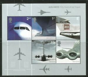 Great Britain 2002 Jet Airliners ss--Attractive Airplane Topical (2052a) MNH