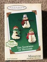 Hallmark Keepsake 2003 Set of 3 Miniature Ornaments THE SNOWMEN OF MITFORD