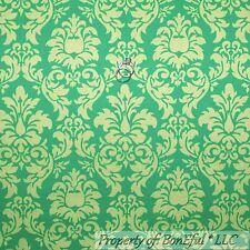 BonEful Fabric FQ Cotton Quilt Green Lime Tone Flower Girl VTG Damask John Deere