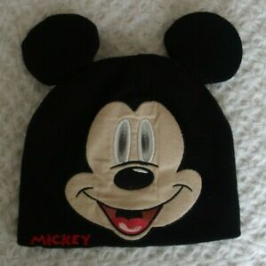 Disney Toddler 2T 3T 4T Boys Mickey Mouse Hat Ears winter fall eyes move black