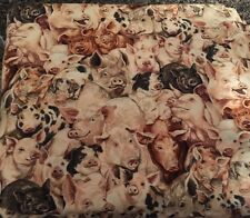Buy By The Yard Cotton Fabric Farm Animals Crowded Pigs Packed Allover 1