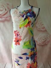 TRINA TURK NWT JUJU DRESS FLORAL HALTER ALL OVER EMBROIDERED SIZE M