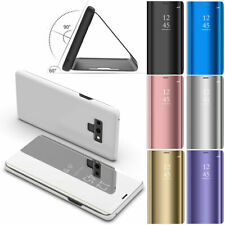 Leather Mirror Window View Flip Stand Phone Case For Samsung Galaxy Note 9 8 5 4