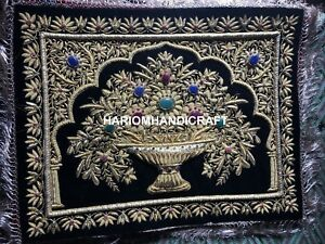 Gold Hand Embroidery Floral Wall Hanging Interior Kashmir Tapestry Decors M126