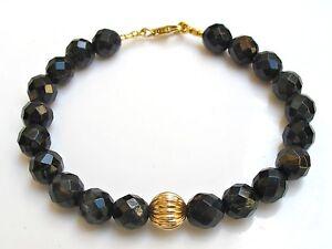 Tiger eyes 14 solid yellow gold bead bracelet bangle black chunky round men man