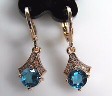 Turquoise Round Cubic Zirconia V Hat Drop/Dangle Rose GP Ladies/Women's Earrings