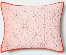 PILLOWFORT Velvet Stitch Sham ~ Standard ~ Pink Orange