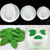3X Fondant Cake Icing Decorating Rose Leaf Sugarcraft Plunger Cutter Mold Tool