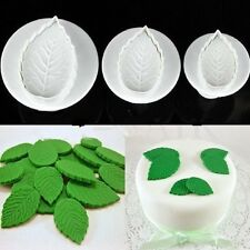 3X Fondant Cake Icing Decorating Rose Leaf Sugarcraft Plunger Cutter Mold Tool