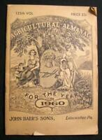 Agricultural Almanac 1960 Lancaster PA Pennsylvania John Baers Sons Copy #1 (O)