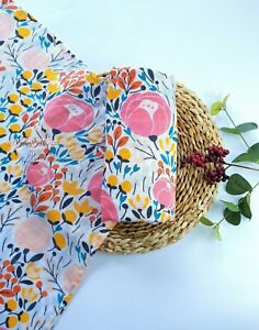 Large 120cm Soft Organic Bamboo Rose Floral Baby Muslin Swaddle Cloth Blanket