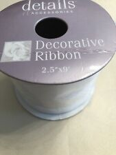 """Details & Accessories 1 spool wired ribbon 2.5"""" x 9' White"""