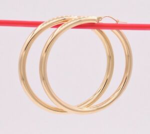 """4mm X 50mm 2""""  Large Shiny Plain Bold Hoop Earrings REAL 10K Yellow Gold"""
