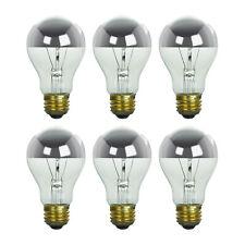 6 Pack 100 Watt Incandescent Half Silver Bowl 100W Standard A19 Light Bulb Lamp