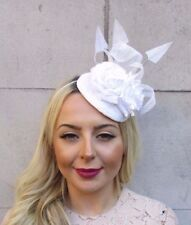 White Ivory Rose Feather Flower Fascinator Pillbox Hat Races Wedding Formal 4453