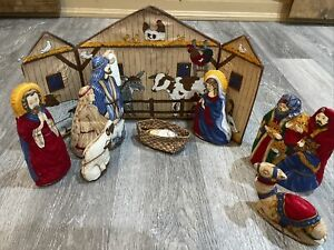 Cranston Print Works Fabric Panel Finished Completed Christmas Nativity Set