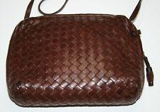 EXC Cond! Vintage Bottega Veneta Brown Intrecciato Shoulder Purse Bag Lambskin