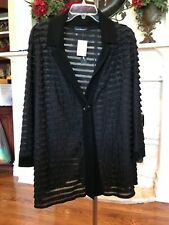 NWT!WOMENS PLUS SIZE BLOUSE BLACK 1 BUTTON TOP JACKET RUFFLE~ TRAVEL ELEMENTS 3X