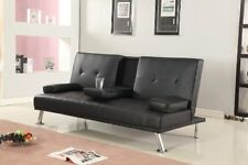 Comfy Living Cinema Style Futon Sofabed With Drinks Table Sofa Bed Faux Leather