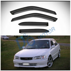 4pc Smoke Sun/Rain Guard Vent Shade Window Visors Fit 98-02 Corolla/Prizm