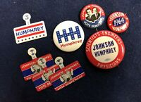Vintage Hubert Humphrey (+ LBJ On 3 Of 6) Campaign Buttons And Tabs | New!!