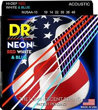 DR Acoustic Guitar Strings Neon Hi-Def Red, White, and Blue Lite 10-48 NUSAA-10