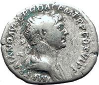 TRAJAN 114AD Rome TRAJAN's COLUMN in the Forum Ancient Silver Roman Coin i63406