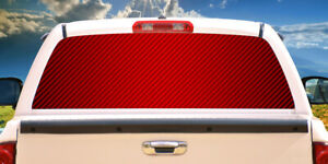 RED CARBON FIBER Rear Window Graphic truck view thru vinyl decal back