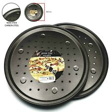 """13"""" Large Non Stick Pizza Tray Baking Round Oven Tray Carbon Steel Pizza Pan"""