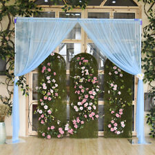 2xSheer Backdrop Curtain Wedding Ceremony Tulle Backdrop Decor No Lamp Blue