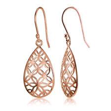 Rose Gold Flashed Sterling Silver Filigree Floral Design Teardrop Earrings