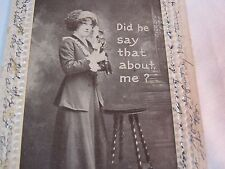 CANDLESTICK PHONE DID HE SAY THAT ABOUT ME? 1910 ANTIQUE POSTCARD   T*