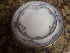 VINTAGE ART DECO 1920s 1930s Plates Pink Flower Blue Gold 2 dinner 1 side Plate