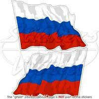 RUSSLAND Russische Föderation Wehende Flagge, 75mm Vinyl Aufkleber x2