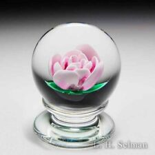 Francis Whittemore pink crimp rose pedestal glass paperweight