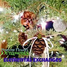 25 Real Pinecone Ornaments E.E. Pine cone Flowers Handcrafted Nature Tree Decor