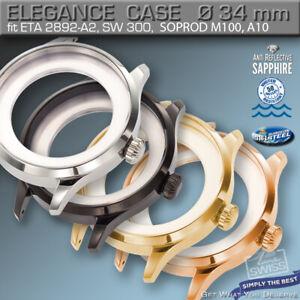 WATCH CASE ELEGANCE Ø 34mm, ETA 2892-A2, SW 300, M100, A10, ST, BL, GOLD, R-GOLD