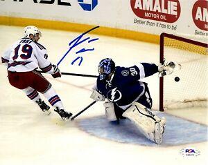 Jesper Fast autographed signed 8x10 photo NHL New York Rangers PSA COA