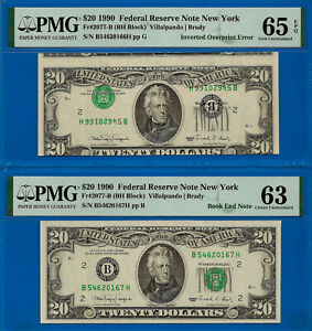 Error Note - 1990 $20 FRN (( Inverted Overprint Error + Book End )) PMG 65EPQ