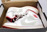 """Youth Air Jordan I Mid """"Hare"""" 719554-123 White True Red Silver 1 GS 2015  6.5Y"""
