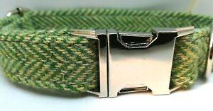 Green Herringbone Harris Tweed dog collar & lead set Various sizes