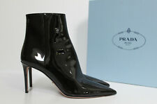 New sz 8.5 / 39 Prada Black Patent Leather Pointed Toe Thin Heel Ankle Boot Shoe