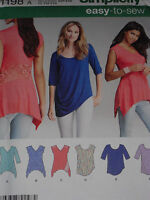 Knit Tops Misses size XXS-XXL Simplicity 1198 Sewing Pattern