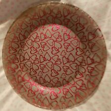 "Plate Red Heart Outlined Decorative 10 1/2 "" Glass"