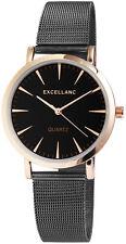Excellanc Damen Armbanduhr Mesharmband Mesh Armband Uhr Milanaise Look schwarz